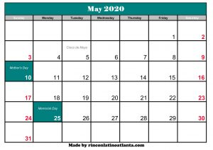 blank may 2020 calendar printable with holidays