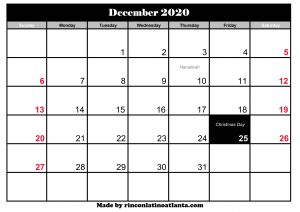 december 2020 calendar australia with holidays printable templat