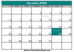 december 2020 calendar canada with holidays printable template green header