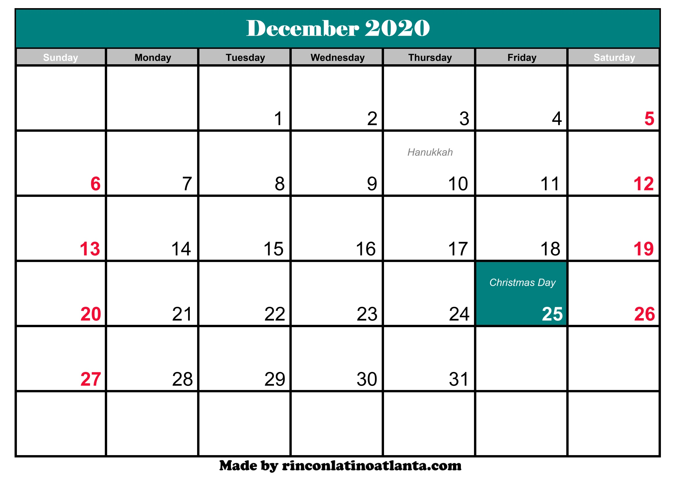 Calendar December 2020.December 2020 Calendar With Holidays Calendar Template Printable