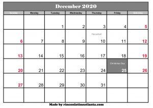 december 2020 calendar uk with holidays printable template