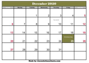 december 2020 calendar with holidays printable template green header