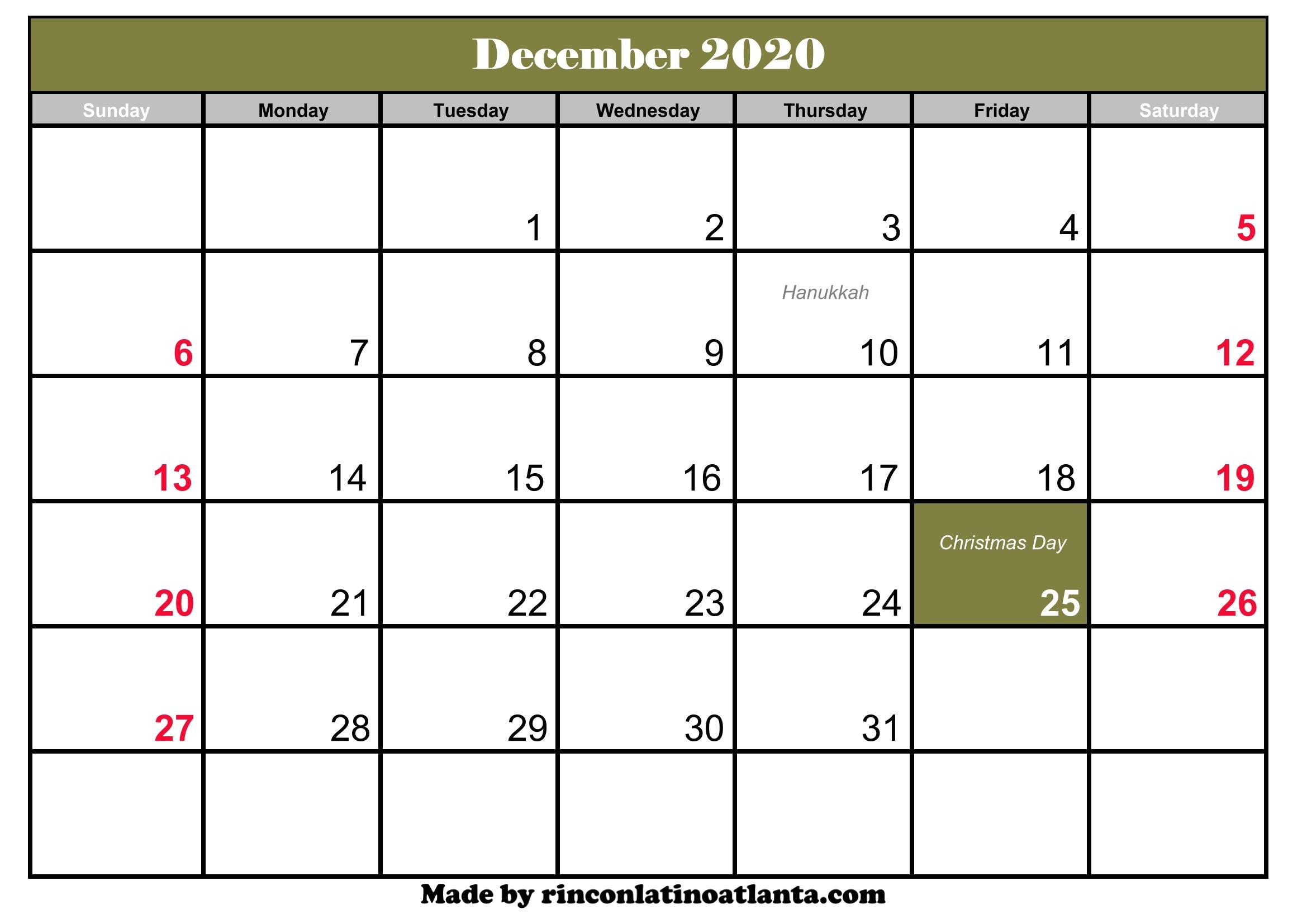 December 2020 Calendar Header December 2020 Calendar with Holidays | Calendar Template Printable