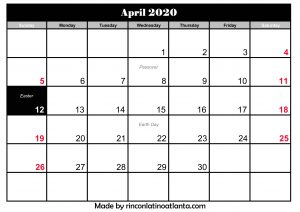editable april calendar for 2020 printable