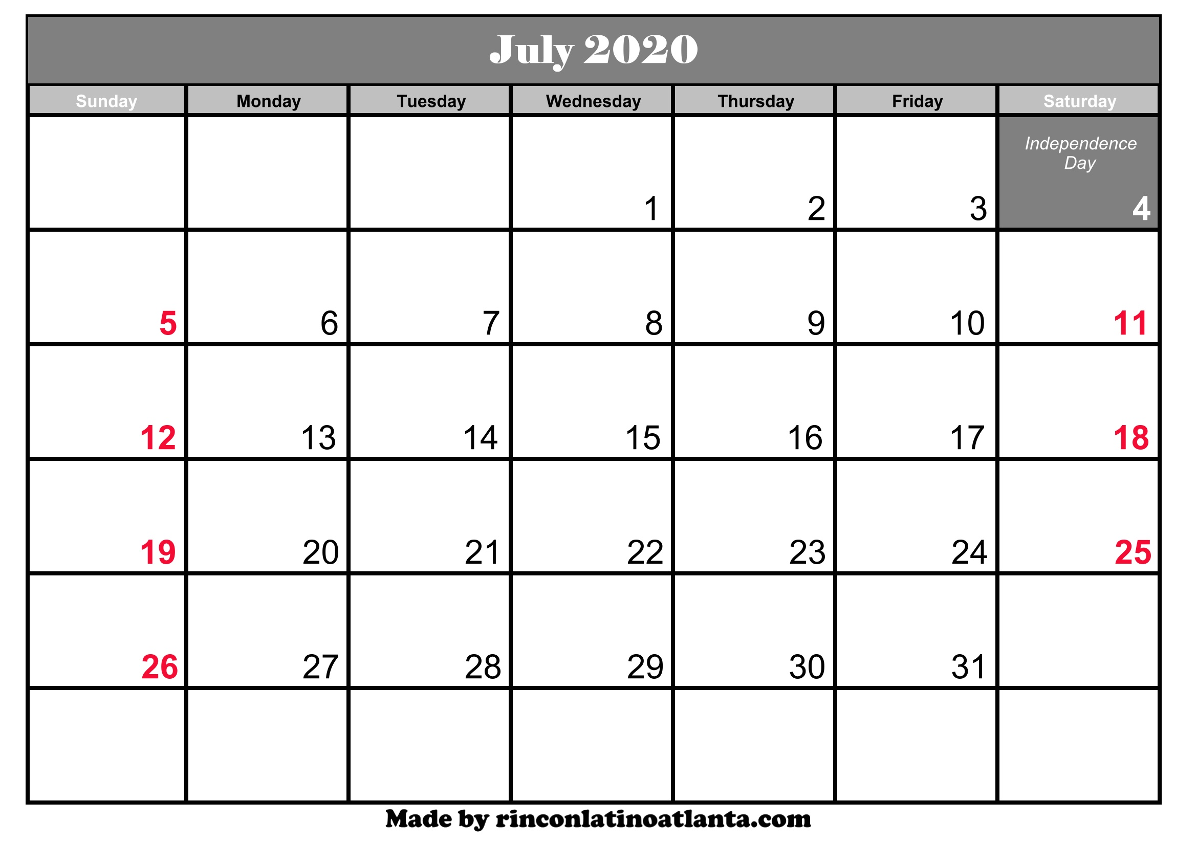 Printable Calendar July 2020.July 2020 Calendar Printable With Holidays Calendar Template Printable