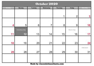 free october 2020 calendar canada template printable holidays