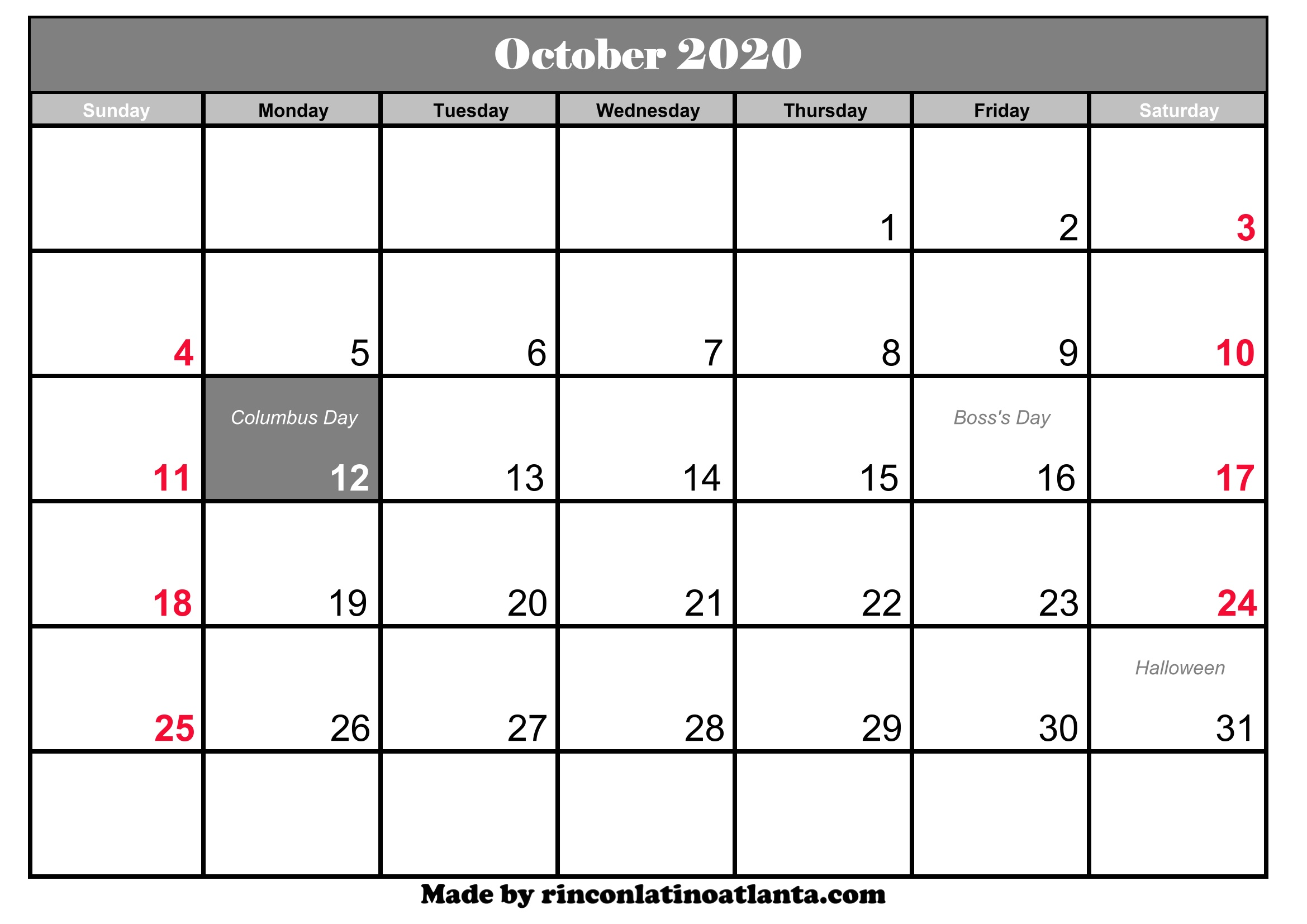 graphic regarding Calendar Printable With Holidays identify Oct 2020 Calendar Printable With Holiday seasons Calendar