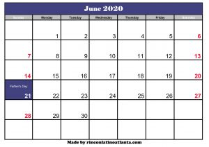 free printable june 2020 calendar template