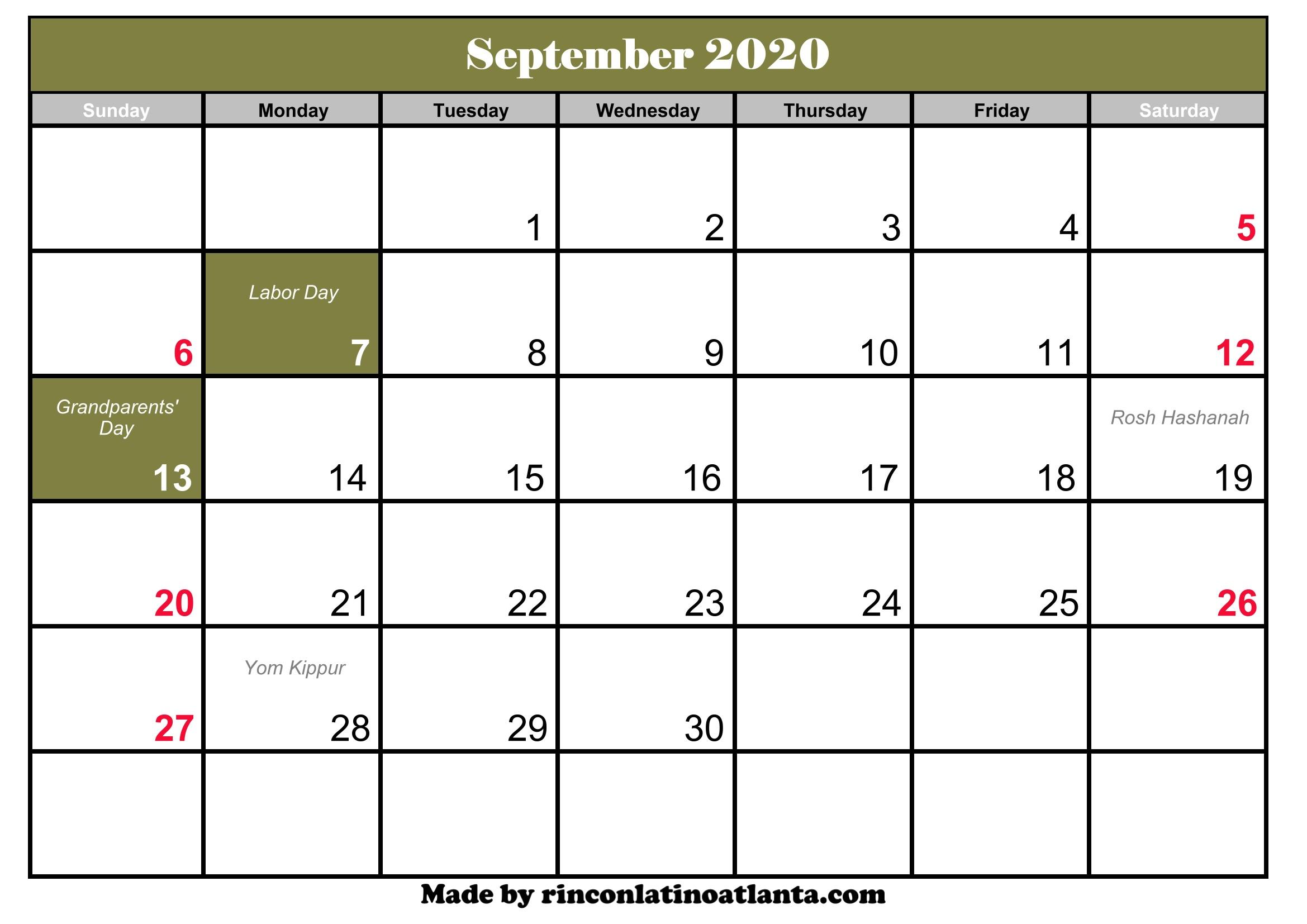 September 2020 Printable Calendar Template [PDF, Word & Excel]   Creative Calendar 2020 September