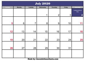 july 2020 calendar with holidays template printable