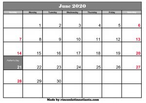 june 2020 calendar template printable