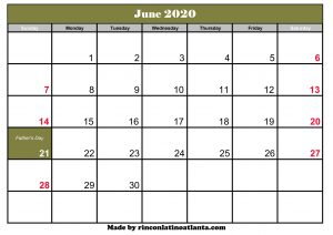 june calendar for 2020 printable template