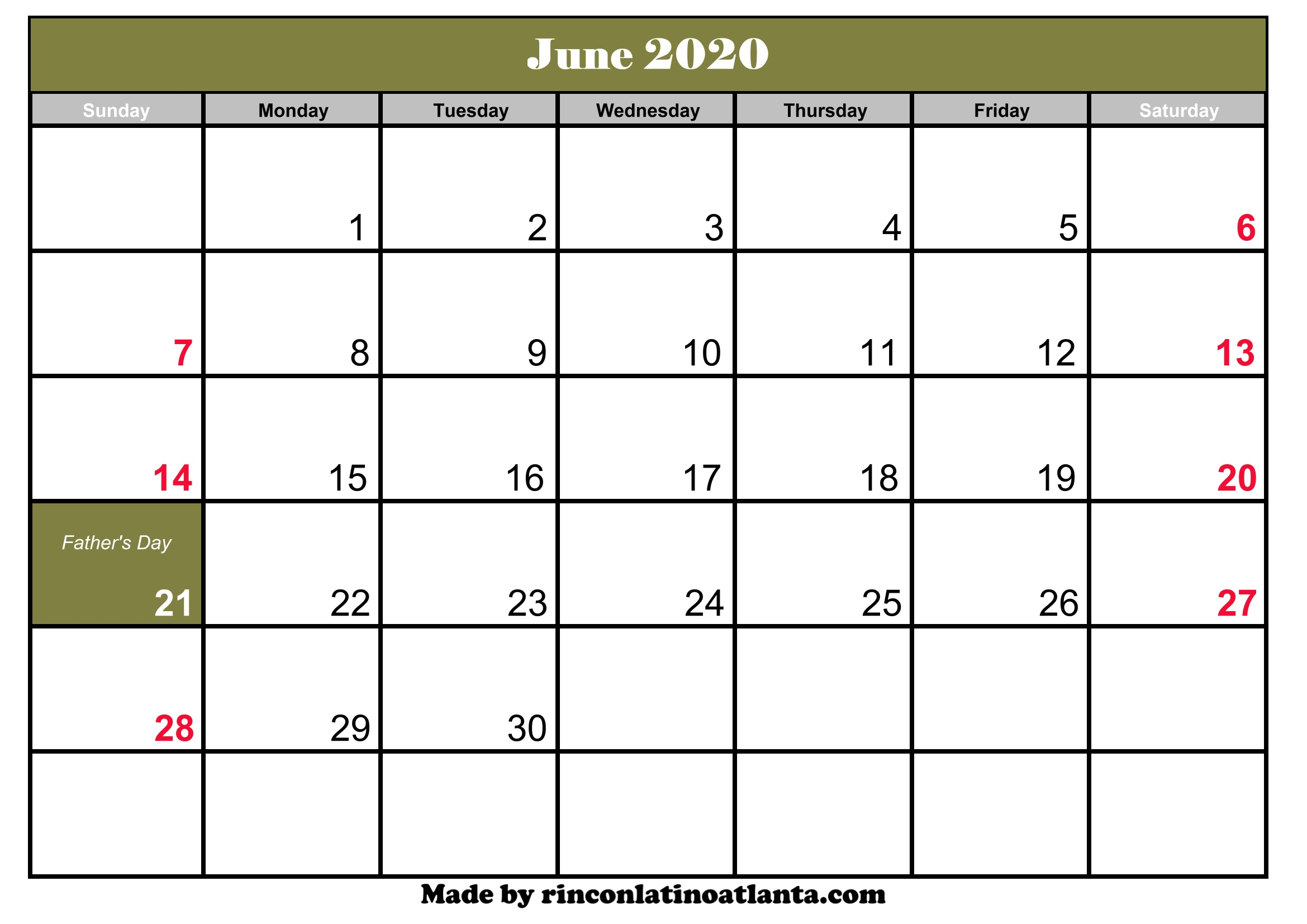 Calendar June 2020.June 2020 Calendar Printable With Holidays Calendar Template Printable