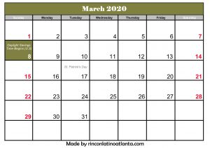 march calendar 2020 united states