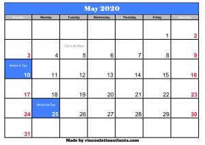 may 2020 calendar blank printable template