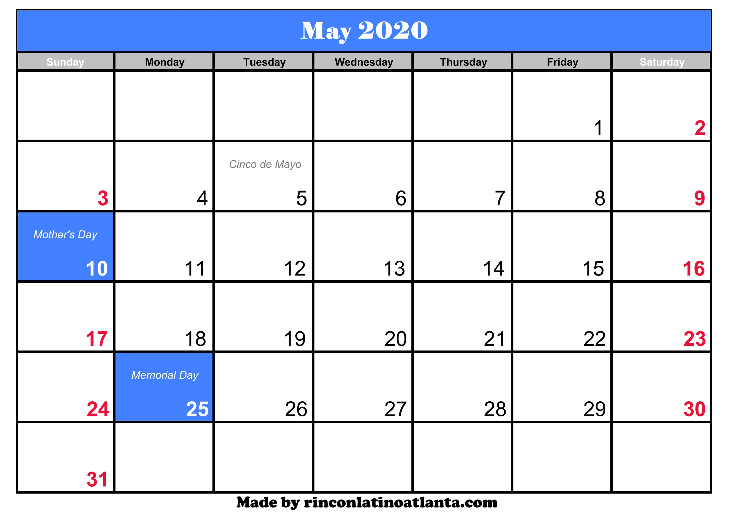 This is a picture of Gratifying Printable May 2020 Calendars