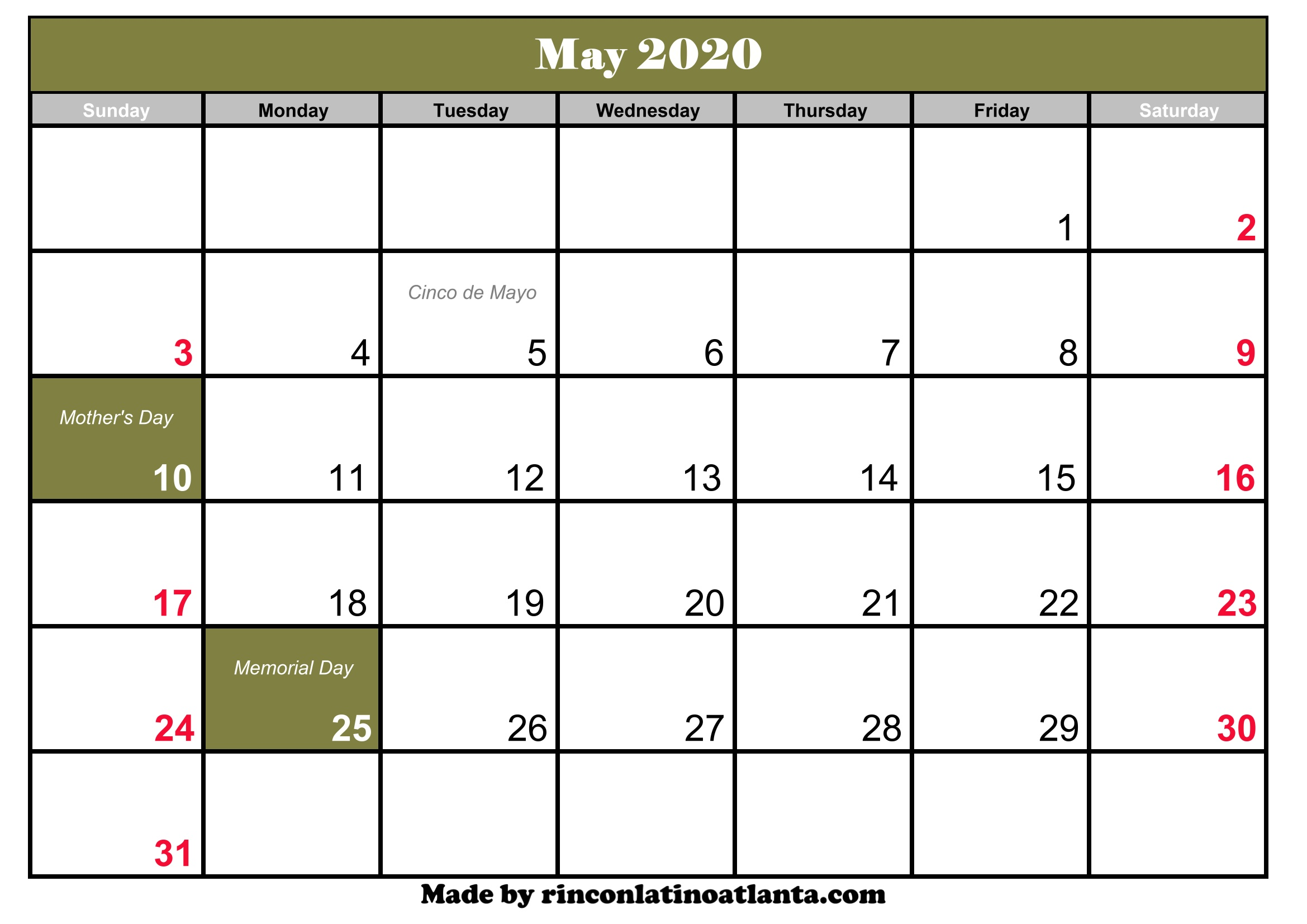 may 2020 calendar with holidays canada