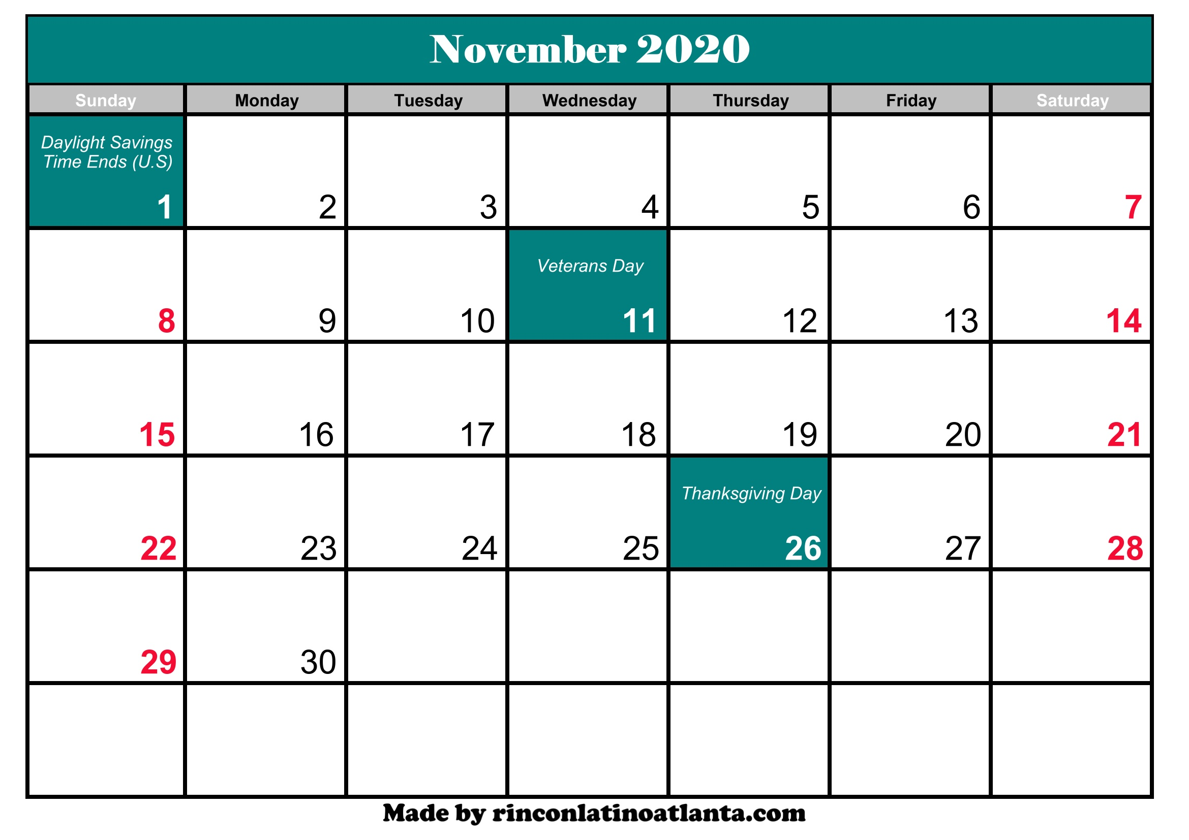Nov 2020 Calendar With Holidays November 2020 Calendar With Holidays Printable | Calendar Template