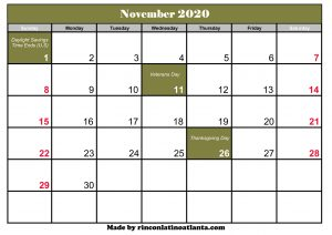 november 2020 calendar template printable green header
