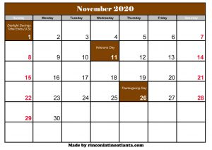 november 2020 holiday calendar printable brown header