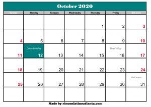 october 2020 calendar australia printable
