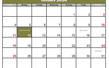 october 2020 calendar template