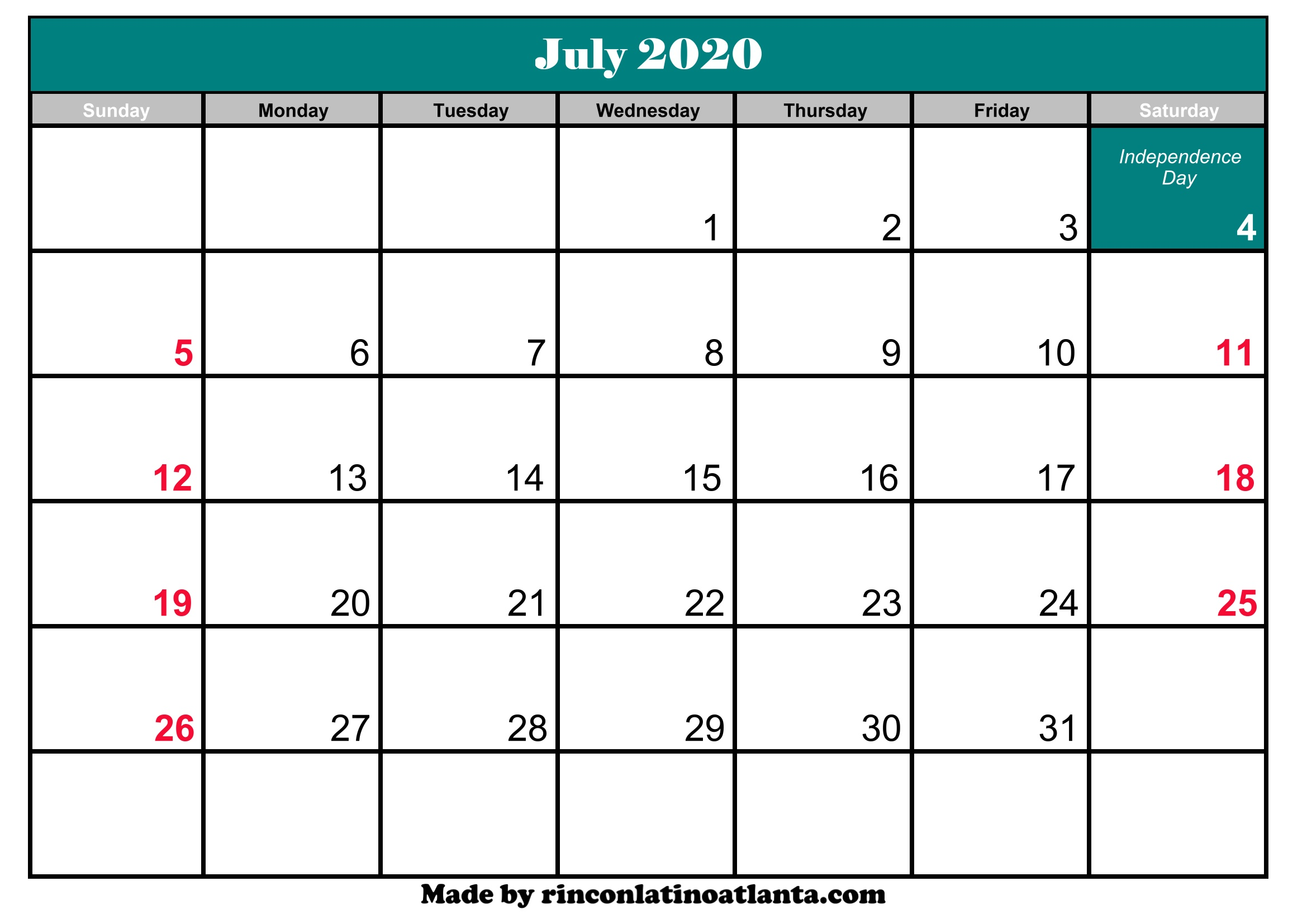 printable calendar of july 2020