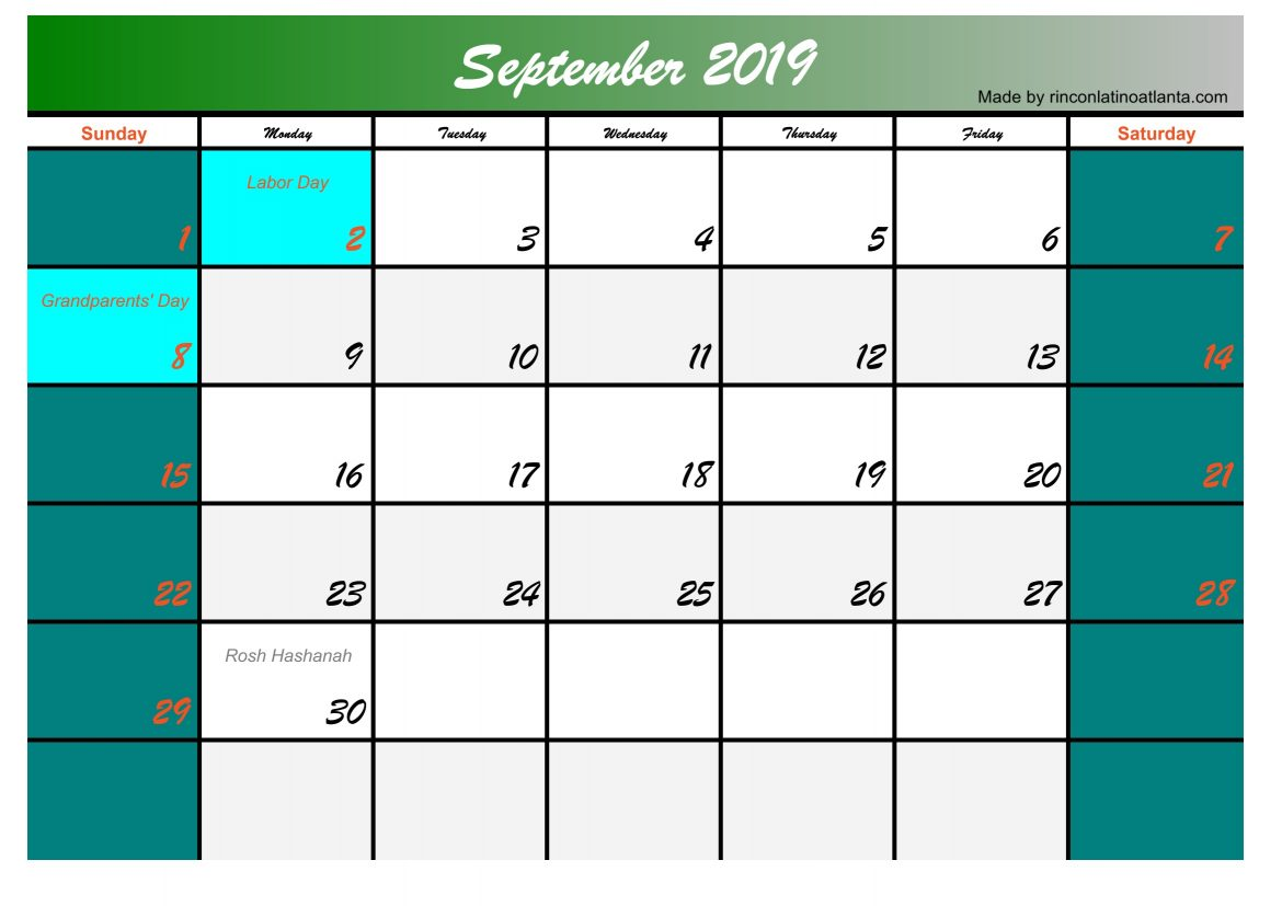 Five September 2019 Calendar Printable Free