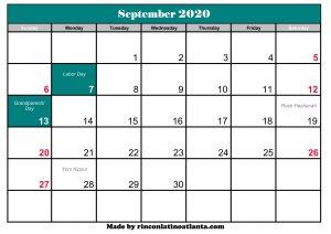 september 2020 calendar canada printable