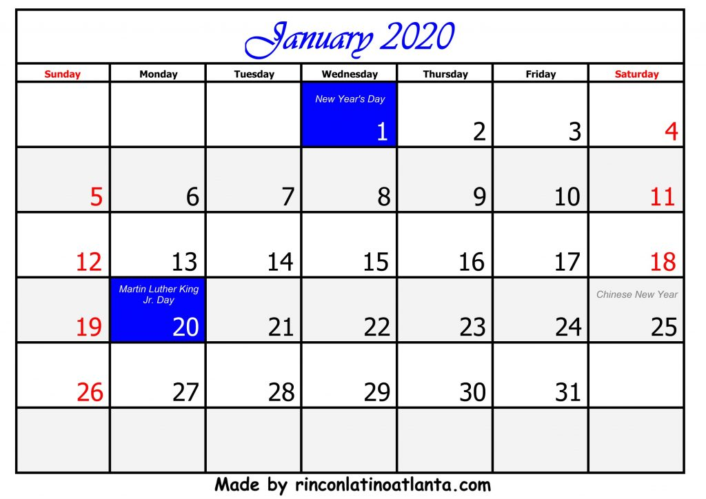 1 January Calendar Template 2020