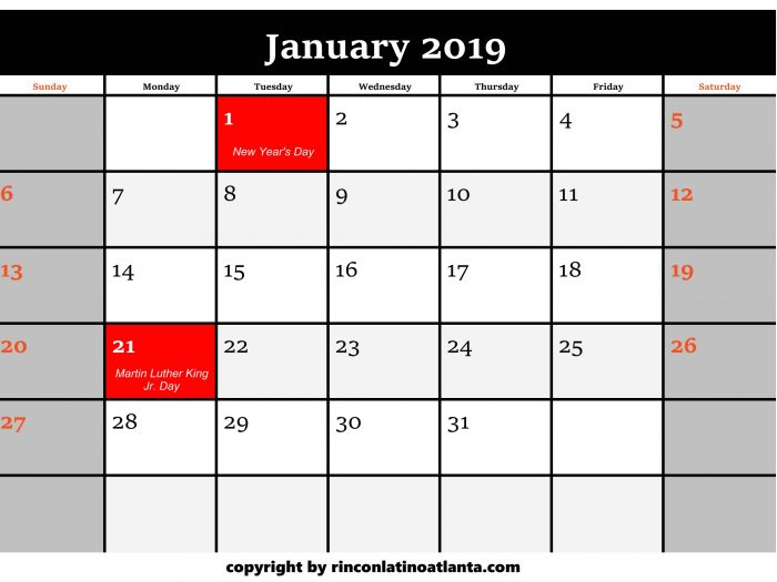 1 Printable 2019 Calendar by Month January