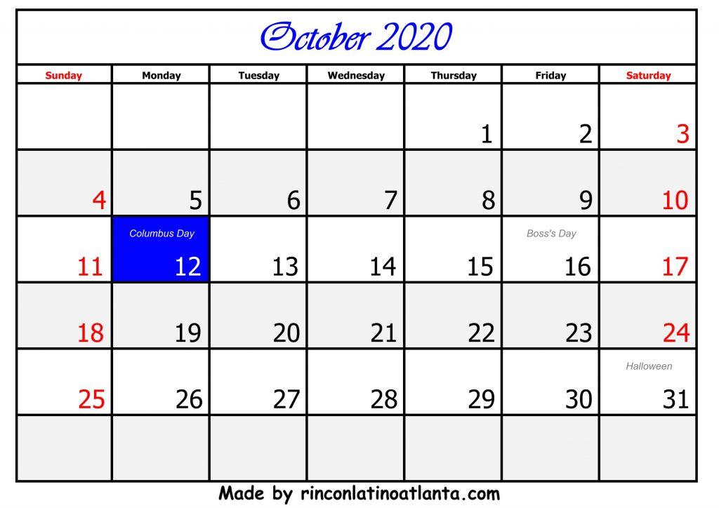 10 October Calendar Template 2020