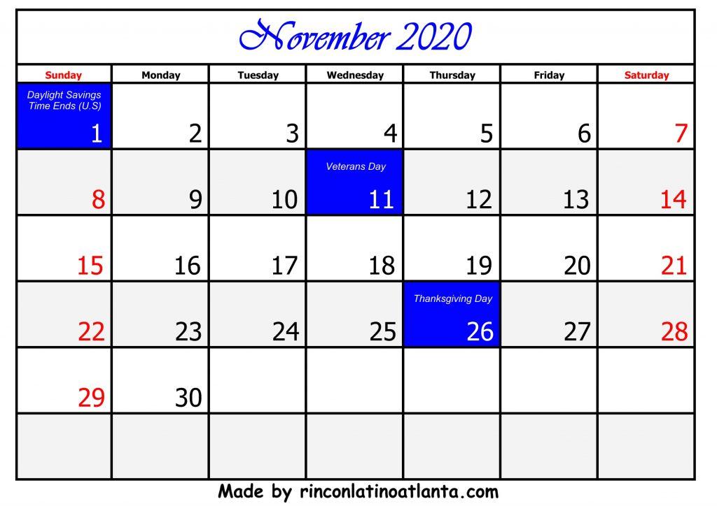 11 November Calendar Template 2020