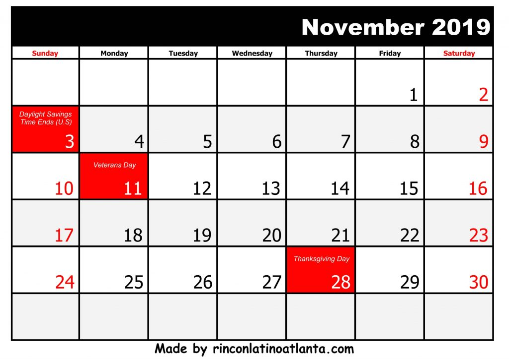 11 November rintable 2019 calendar with Holidays Black And White