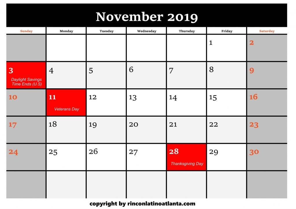 11 Printable 2019 Calendar by Month November