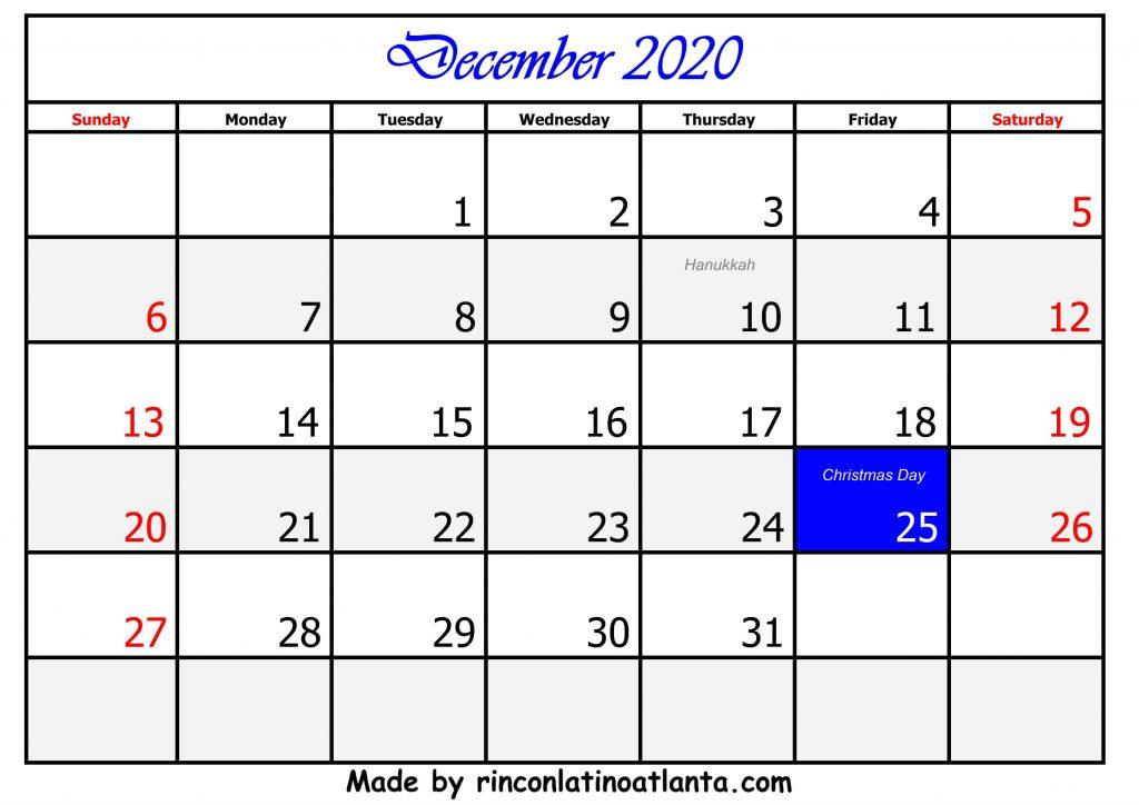 12 December Calendar Template 2020
