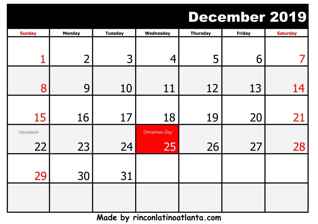 12 December Printable 2019 calendar with Holidays Black And White