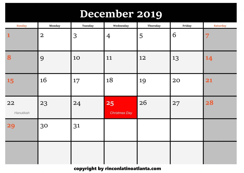12 Printable 2019 Calendar by Month December