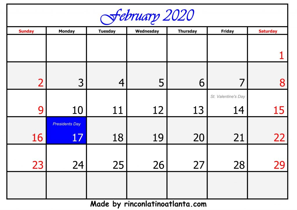 2 February Calendar Template 2020