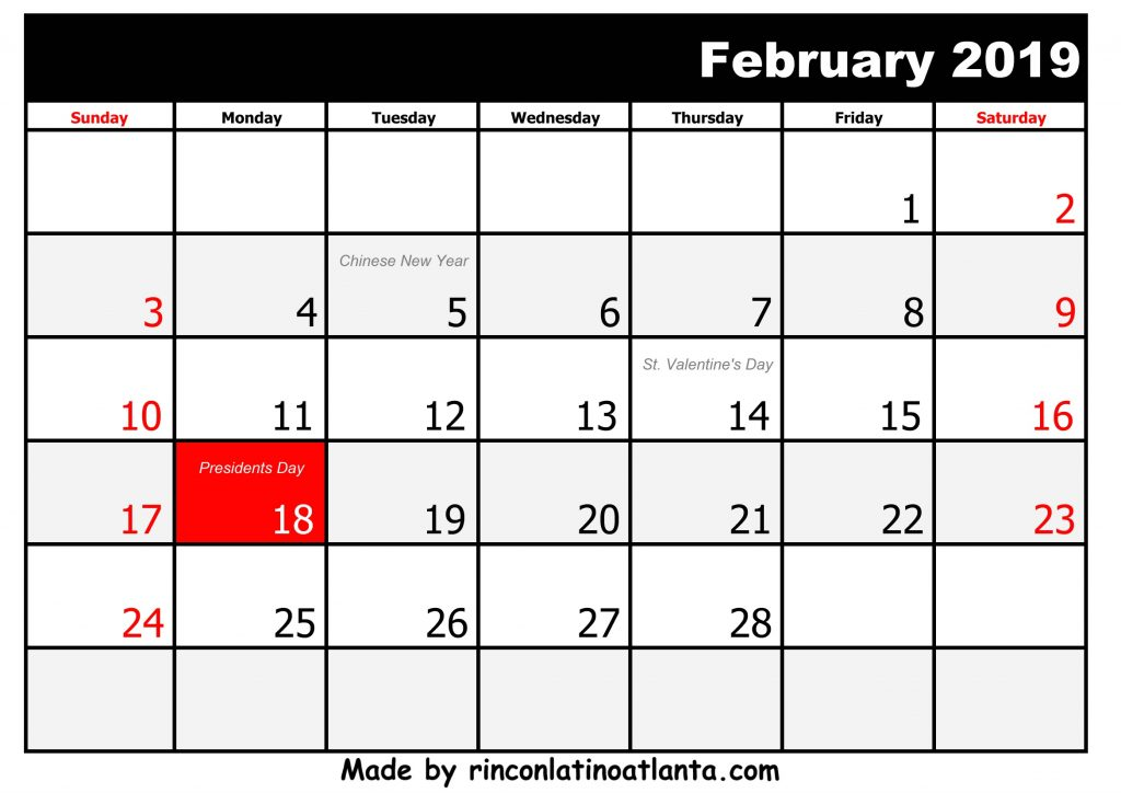 2 February Printable 2019 calendar with Holidays black and white