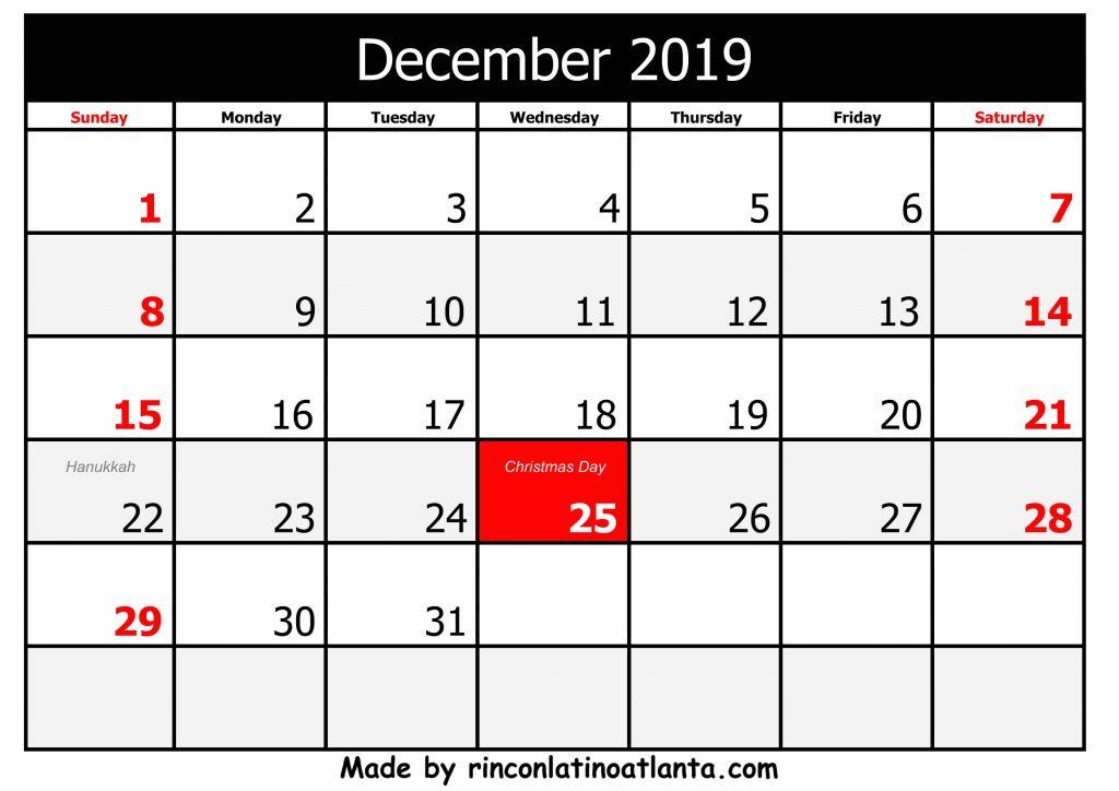 2019 printable calendar with holidays horizontal black header