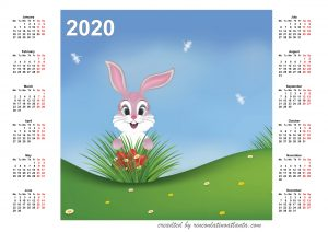 2020 Calendar Printable One Page Horizontal