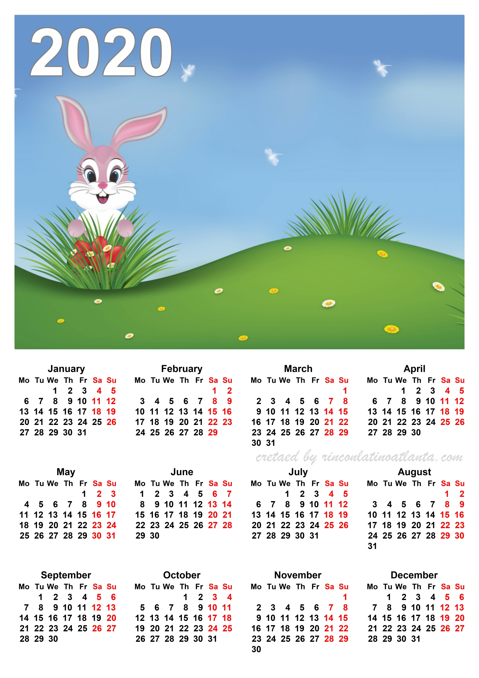 2020 Calendar Printable One Page Vertical