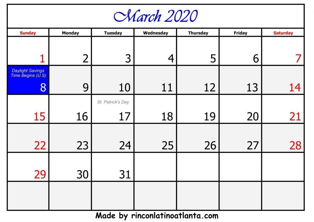 3 March Calendar Template 2020