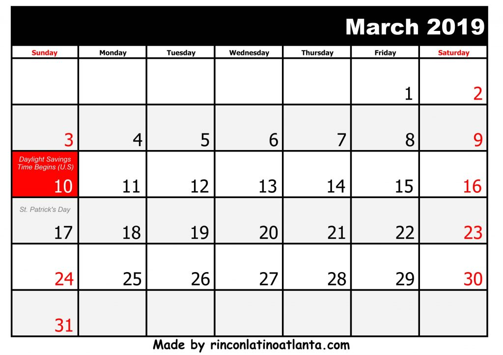 3 March Printable 2019 calendar with Holidays Black And White
