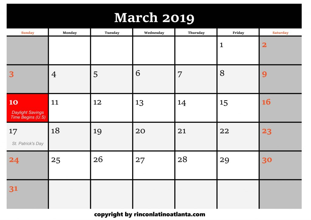 3 Printable 2019 Calendar by Month March