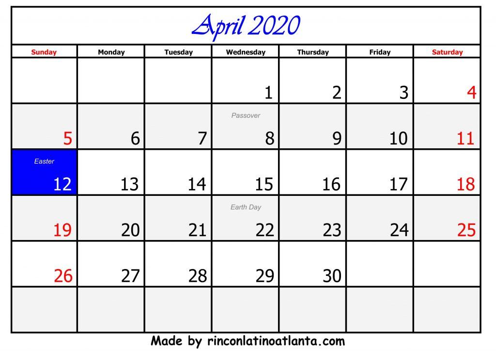 4 April Calendar Template 2020