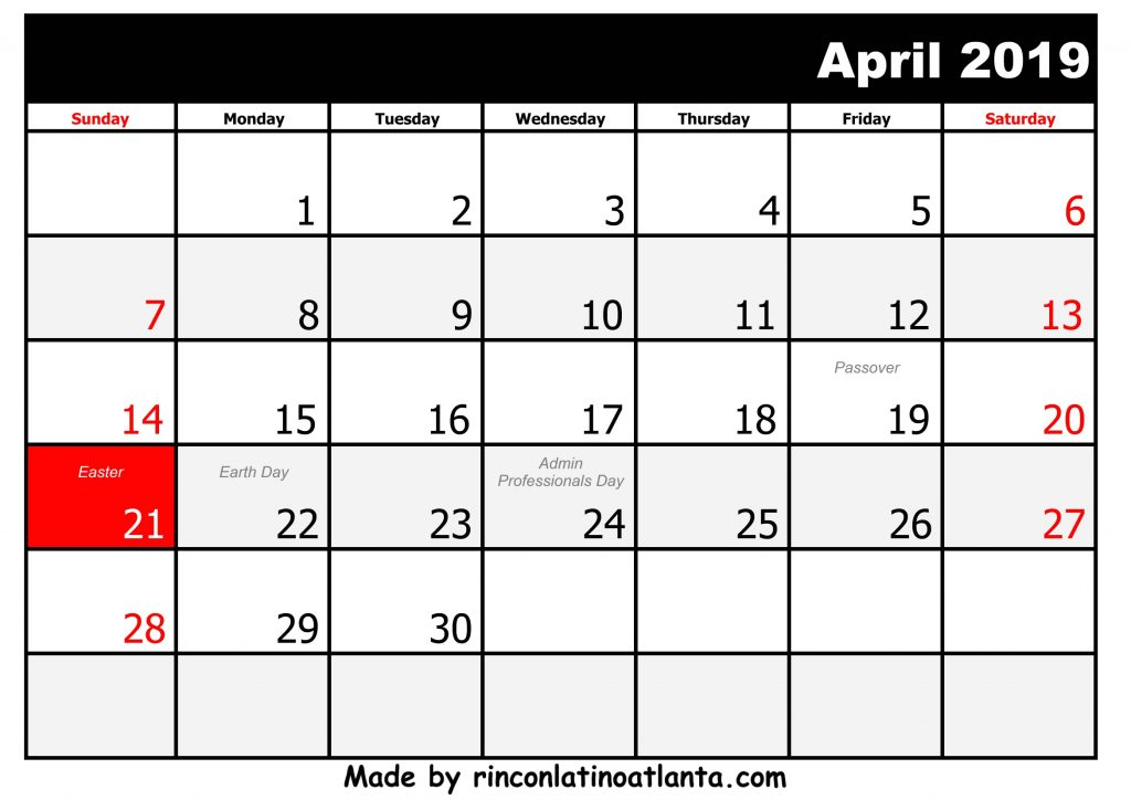 4 April Printable 2019 calendar with Holidays Black and White