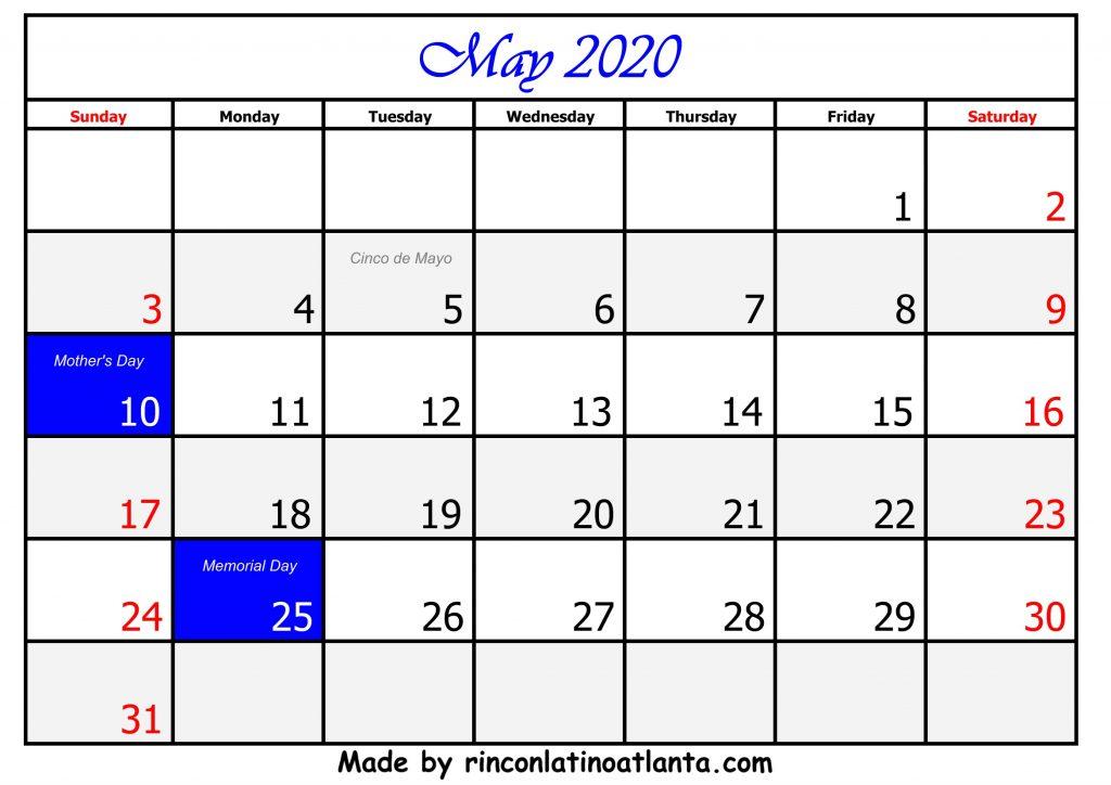 5 May Calendar Template 2020