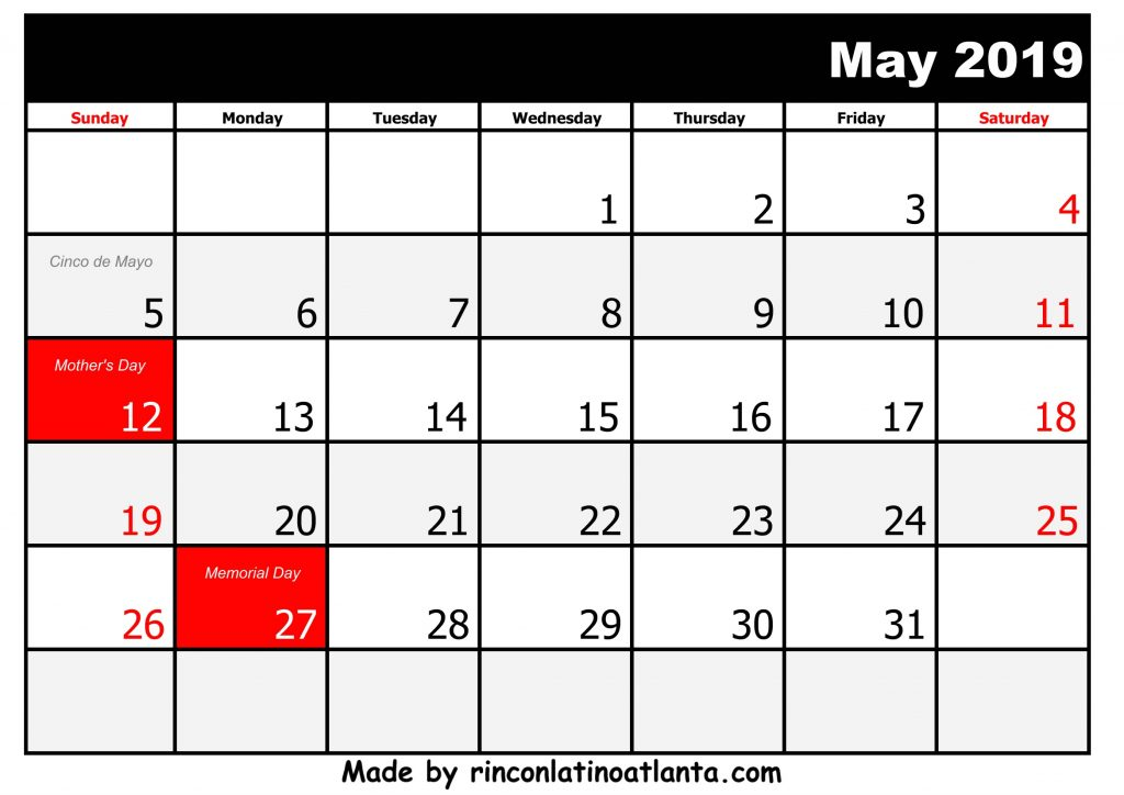 5 May Printable 2019 calendar with Holidays Black and White
